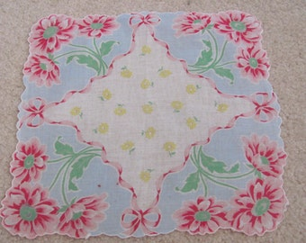 Beautiful Vintage White Blue Floral Cotton Hankie Handkerchief
