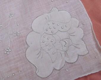 Vintage Solid White Flower Applique Hankie - Unused New