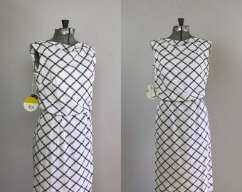 Vintage 1960s R&K Originals Dress. 1960s 60's NOS Black and White Wiggle Dress. Size Xs to Small