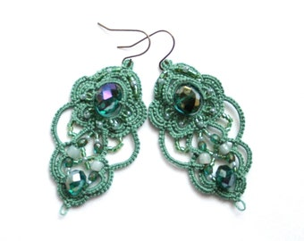 Green Crystal Chandelier Dangle Tatting Beaded Earrings