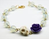 Original Day of the Dead Opalite Purple Rose Frida Flower Bracelet Sugar Skull Jewelry