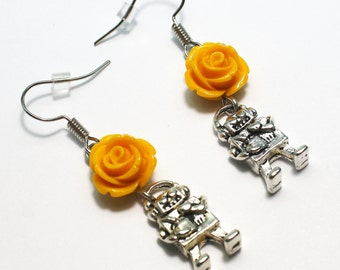 Yellow Rose Earrings Robot Silver Tone Jewelry