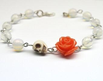 Original Day of the Dead Opalite Peach Rose Frida Flower Bracelet Sugar Skull Jewelry