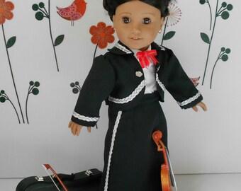 Mariachi charra suit traje black gabardine silver trim fits 18 in like American Girl doll