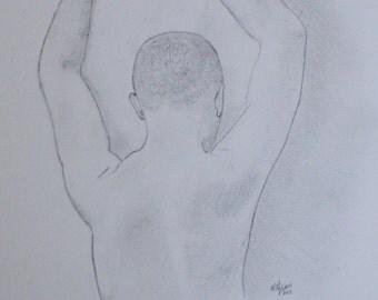 Back of Man ~ Original Pencil Drawing