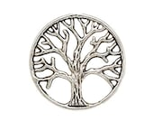 5 Tree of Life Charm Disc Plate 20mm Silver for Living Memory Locket H642