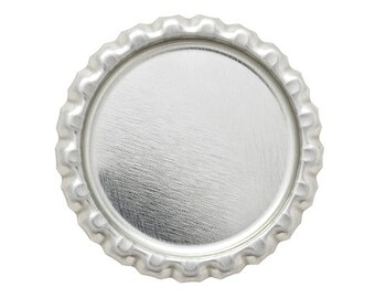 5 Flat Bottle Caps Chrome Linerless Blank Crown Caps H0646