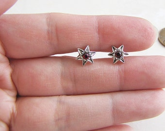 Red CZ star flower Sterling Silver Stud Earrings, Kawaii