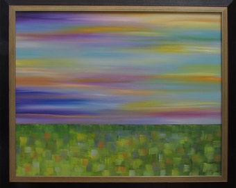 Framed Abstract Landscape Painting...Original Oil Painting...Kelly Hutchinson