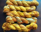 Yellow Recycled Sari Silk Ribbon Yarn, Sunshine, Maize, 3.5 oz / 100 grams, 55 yards, Upcycled, Bulky, Crochet, Knit, Jewelry, Craft, Weave