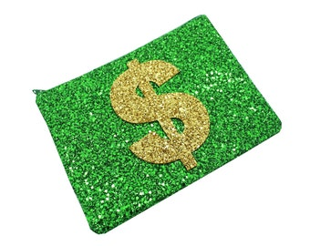 Handmade Green & Gold Glitter Fabric Dollar Sign Clutch Make Up Cosmetic Wallet Coin Zip Pouch Purse