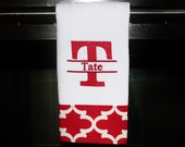 Split Initial and Name with Red  and White Quatrefoil Monogrammed Dish Towel or Hand Towel