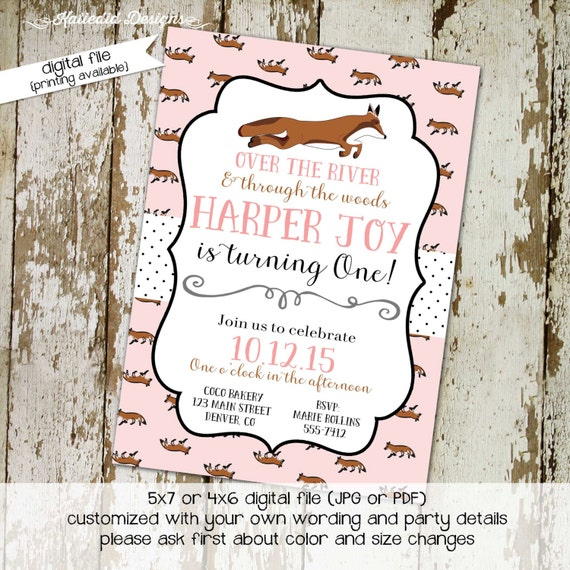fox birthday invitation baby girl shower pink foxes polka dot couples diaper coed evite baptism over the river woods (item 261) shabby chic