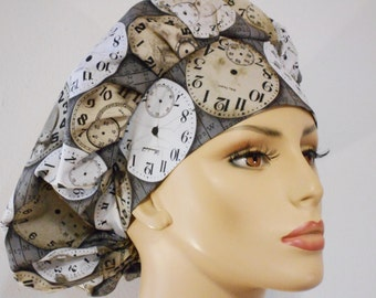 Does Any One Really Know What Time It Is? Bouffant Scrub Hat Medical Scrub Hat with a Matching Headband