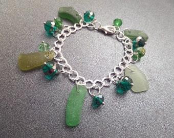 Scottish Sea Glass Charm Bracelet in Shades of Green, Silver Plated Bracelet, Scottish Jewelry, Sea Glass Bracelet with Green Beach Glass