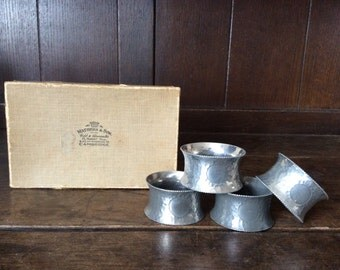 Vintage English silver plated Mathers & Son Cambridge boxed napkin rings 4 four box circa 1910-30's / English Shop