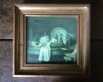 Vintage French still life print in gold wooden frame circa 1940-50's / English Shop