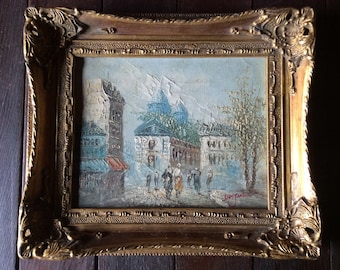 Vintage French African Des Jarding Study oil painting in heavily ornate gold wooden frame circa 1970's / English Shop