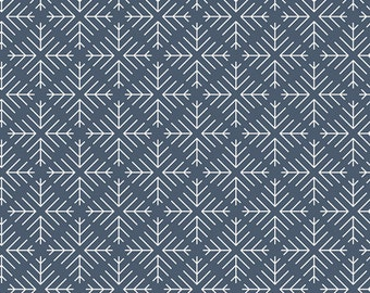 Curiosities Caught Snowflakes Navy by Jeni Baker for Art Gallery Fabrics