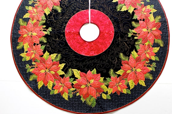 Christmas tree skirt elegant quilted poinsettia by sallymanke