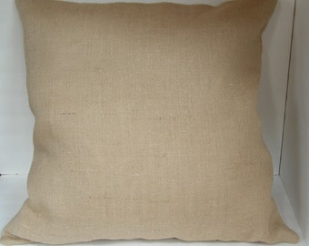 One (1) Beige Burlap Pillow Cover Made to Fit 24 inch Pillow