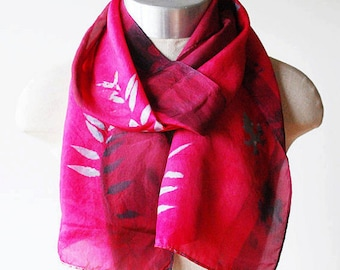 china red silk scarf, valentines day, hand printed, hand painted scarves, Asian design