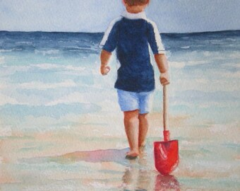 Beach Boy Painting Art Print, Child Red Shovel Seashore Ocean Beach Watercolor, Barbara Rosenzweig, Beach Nursery Home Wall Decor Gift