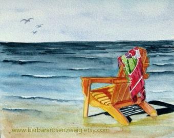 Beach Wall Art, Beach Chair Print, Beach Painting, Coastal Home Decor, Beach Watercolor, Adirondack Chair Art, Beach Home Decor Gift for Her