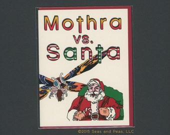 MOTHRA VS SANTA - Funny Christmas Card - Mothra - Santa Claus - Christmas Card - Funny Holiday Card - Holiday Card - Christmas - Item# X068