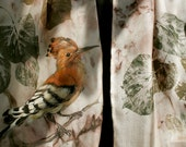 Silk scarf, painted bird, woodland, cute bird, hoopoe, printed leaves, fall, autumn, long scarf, hand painted, nature motiff, beige, ecru