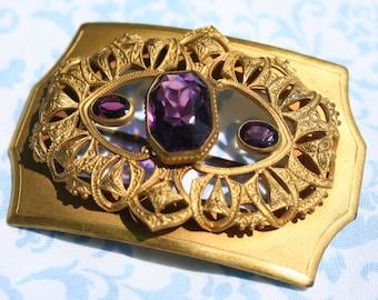 Antique Victorian Sash Pin Brooch Purple Glass