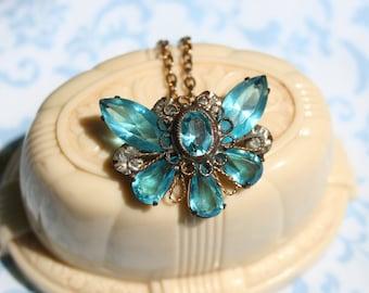 Vintage Butterfly Rhinestone Glass Pendant Necklace Czech Aqua Blue