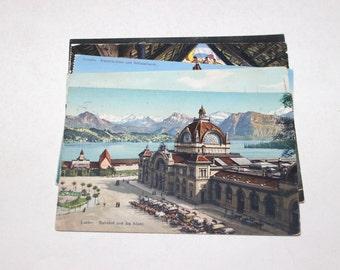9 Vintage Luzern Switzerland Postcards Used