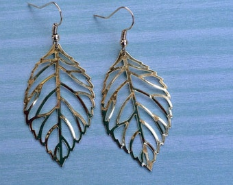 Large gold leaf dangle earrings