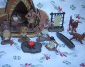 Pocahontas's Powhatan Indian Village Cake Toppers. Group of 12 Figures Made by Safary Ltd.