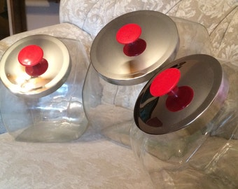 Retro Glass Canisters With Chrome Lids With Red Knobs. 50s Kitchen Canisters And Storage. Retro Kitchen Decor