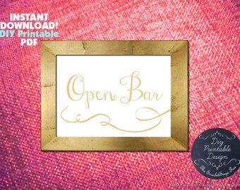 PRINTABLE OPEN BAR Sign Instant Download Calligraphy Gold Wedding Decor Diy Signage Table Setting Party Rustic Script Country Modern Cheap