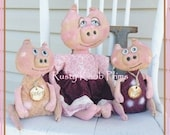 Primitive Rag Doll Pattern Pink Primitive Penelope Pig E-Pattern Instant Download