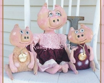 Primitive Rag Dolls/ E Pattern/  Pig Primitive Dolls /  Instant Download/ Primitive Dolls/ Primitive Pink Pig Dolls/ Prims Magazine/