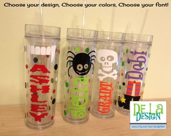 Halloween Personalized w/name acrylic tumbler, polka dots, Available in skinny, standard, sport bottle, mason, kiddie cup & XL cup