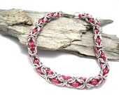 Chainmail Bracelet - Byzantine Chainmaille Bracelet - Byzantine Bracelet - Chainmaille Jewelry - Hot Pink and Silver Bracelet - Chainmail