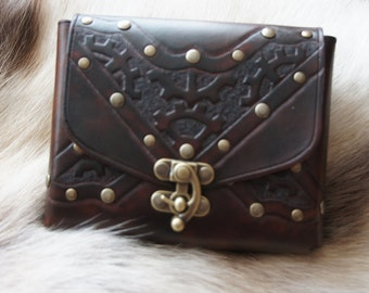 X Marks the Spot - handcarved leather belt pouch