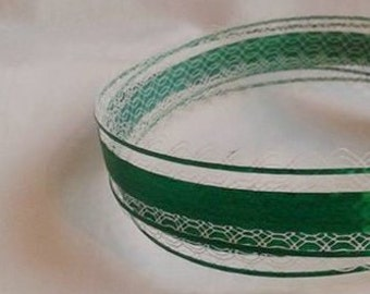 "Emerald Green with Lace Ribbon... 1"" X 10 yards"