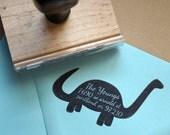 Dinosaur Custom Return Address Stamp // Wooden Handle Stamp