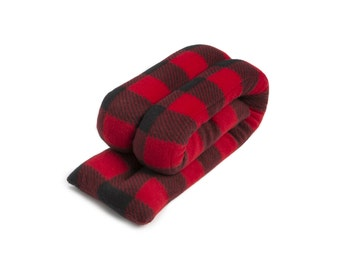Microwave Hot Cold Neck Wrap, Buffalo Plaid Red, 5x26, Rice, Neck Shoulder Back Moist Heat, Anti-pil Fleece, Spot Clean