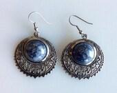 BOHO Filagree Silver and Gray Stone Dangle Earrings