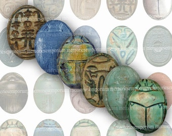 Ancient Egypt Scarabs Ovals 30 x 40 Clipart Digital Paper for Cabochon Jewelry Bezels Pendants Decoupage Magnets Digital Collage Sheet 127