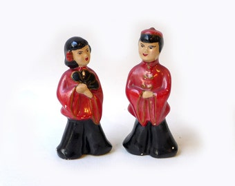 Vintage mid century Occupied Japan porcelain figurines Chinese boy and girl, collectable post war figurines
