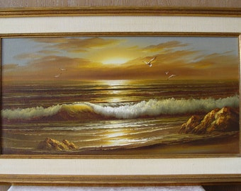 Large Framed Seascape ~ Golden Sunset Ocean Sea Oil PAINTING ~ Seagulls & Waves