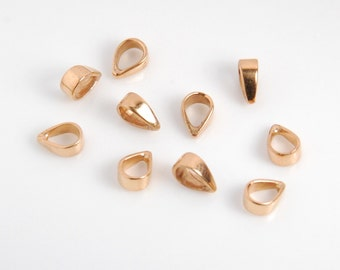 10 pieces: rose gold vermeil bail, rose gold plated over sterling silver, simple bail, bright rose gold color, closed, 3X7mm,  ID 3.5X4.5mm